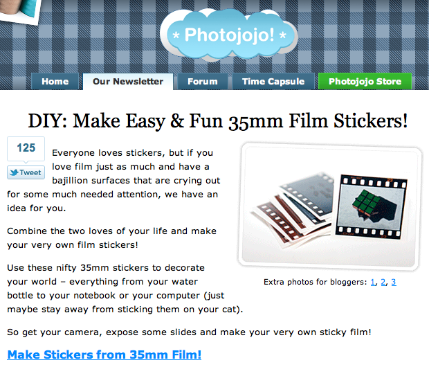 Photojojo Tutorial: Film Stickers