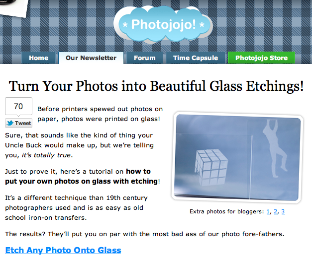 Photojojo Tutorial: Etching Photos on Glass