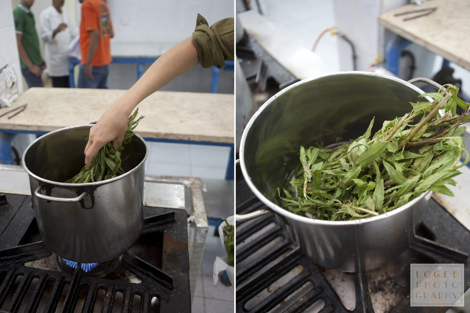 Adding one bunch of Inula viscosa leaves to a pot full of water.