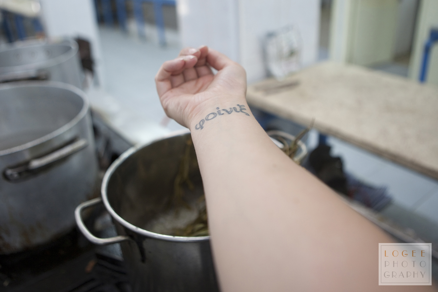 Holding my wrist in the steam coming off the boiling pot.