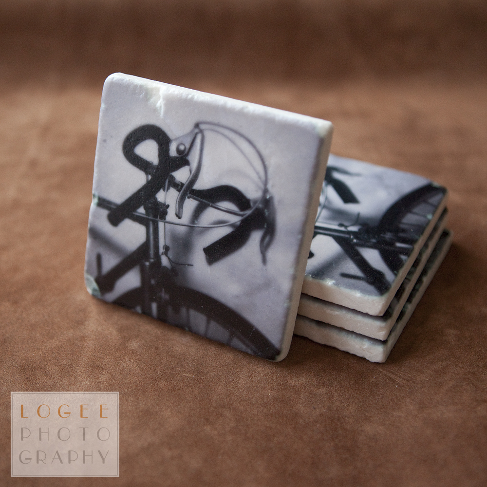 'Retro Bike' stone coaster set by Logee Photography
